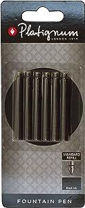 Platignum Fountain Pen Ink Cartridge - Black - Pack of &
