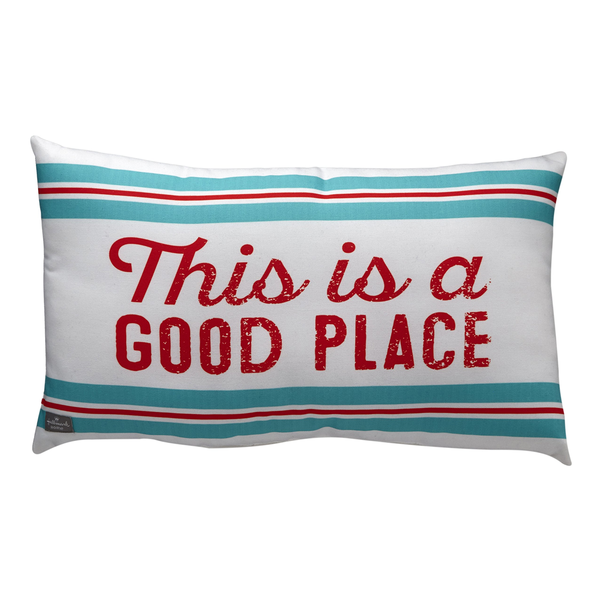FLOOR | 9 Outdoor Lumbar Pillow, Red and Blue Stripes with ''This is a Good Place'' Sentiment (21 x 12.5 inch)