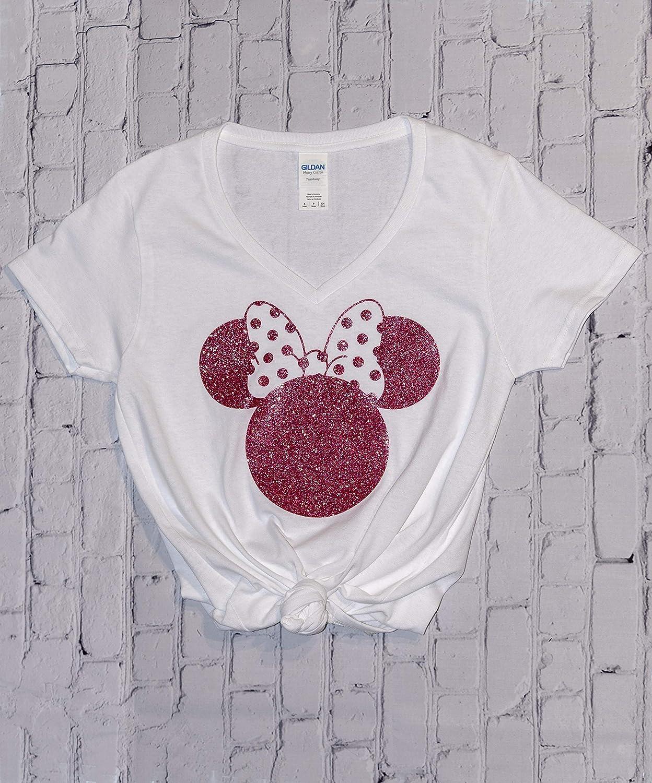 7dbe62c5d Amazon.com: Disney Shirts for Women, Minnie Mouse Rose Gold Glitter Ears,  Disneyland Trip Birthday Outfits, Cute T-Shirts: Handmade