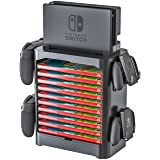 Skywin Game Storage Tower for Nintendo Switch - Stackable Game Disk Rack and Controller Organizer Compatible with Nintendo Switch and Accessories