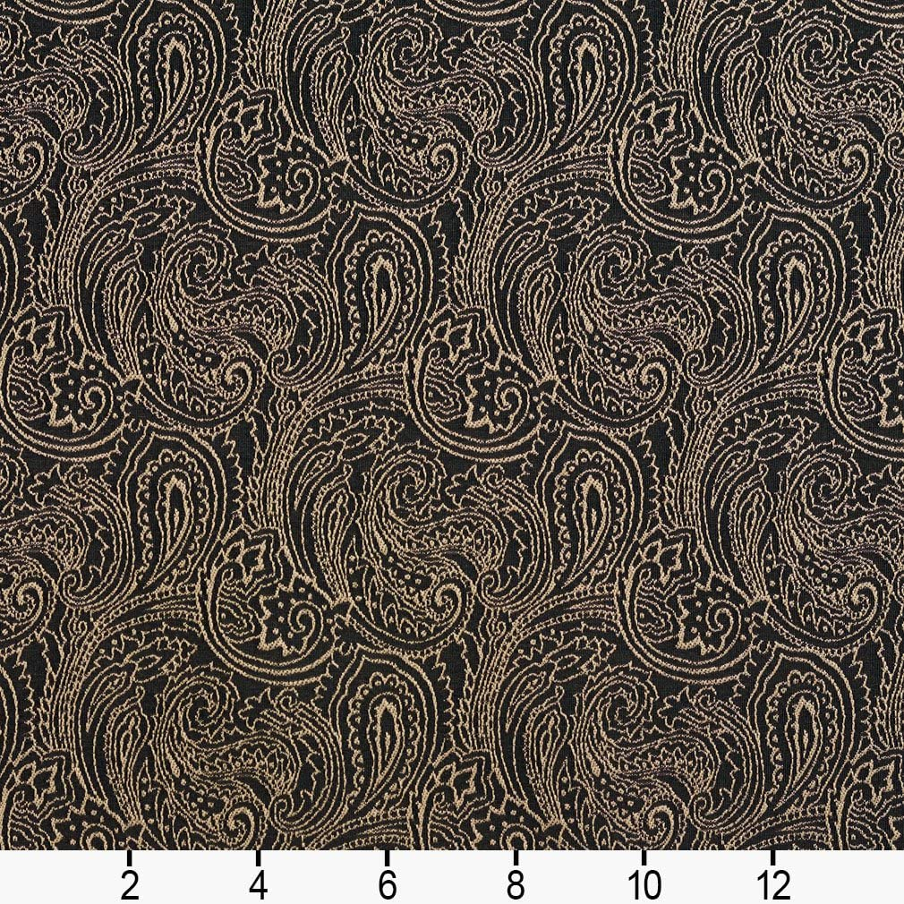 B633 Black Traditional Paisley Woven Jacquard Upholstery Fabric By The Yard