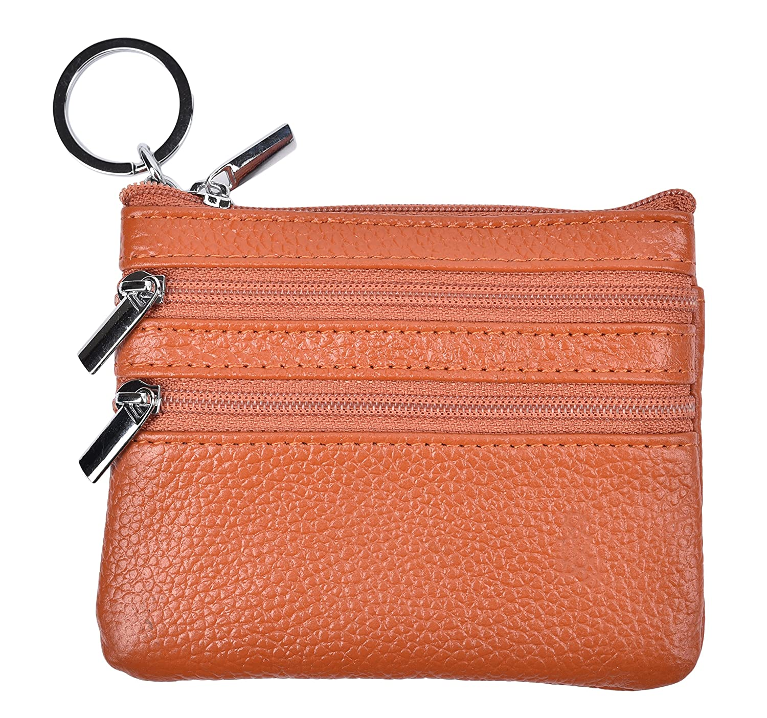 Yeeasy Womens Mini Coin Purse Wallet Genuine Leather Zipper Pouch with Key Ring (Brown) CP17030401CYE3