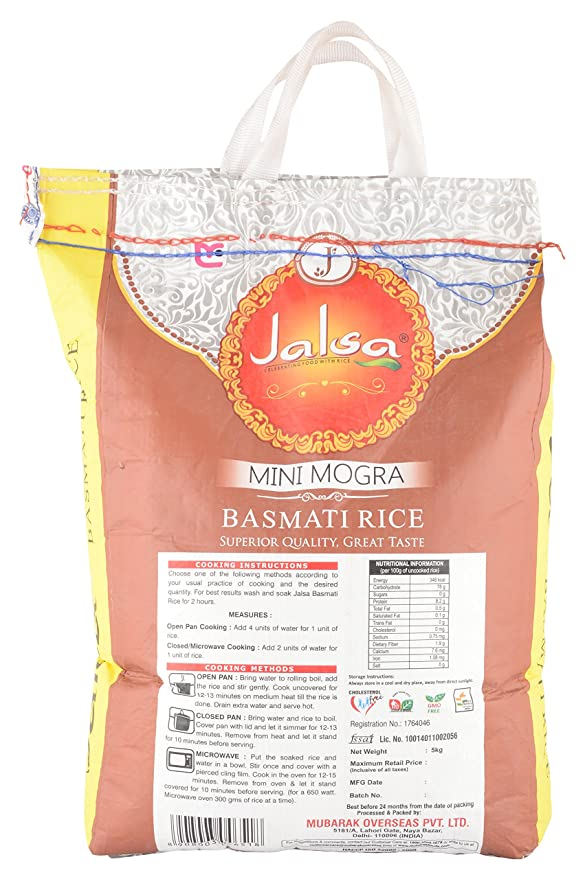 Jalsa Mini Mogra Basmati Rice, 5 kg: Amazon in: Grocery