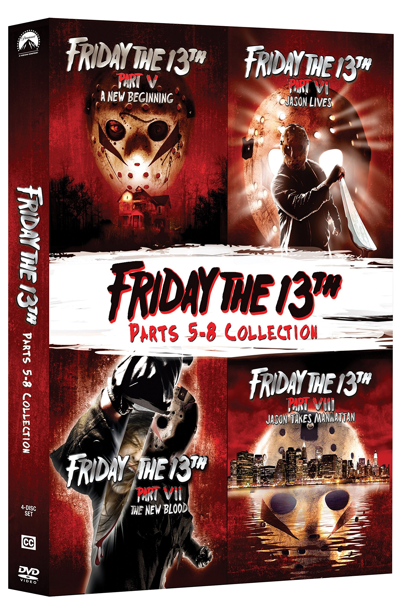 DVD : Friday The 13Th: Deluxe Edition Four Pack (V-VIII) (Deluxe Edition, Widescreen, Amaray Case, 2 Pack, 2 Disc)