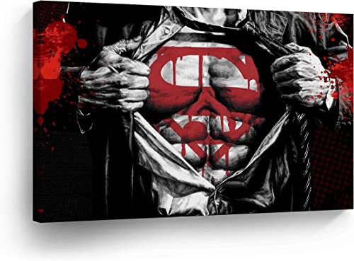 Clark Kent to Superman Transformation Red Black and White Wall Art Canvas Print Splash Style Artwork Super Hero Home Decor Decoration Stretched and Ready to Hang