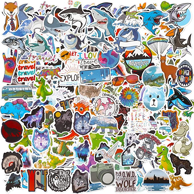 Amazon.com: 200 Pieces Starry Sky Stickers Animal Stickers Neon Light Stickers Graffiti Cartoon Stickers Laptop Assorted Waterproof Vinyl Decals for Water Bottle Skateboard Motorcycle Bicycle (Animal)
