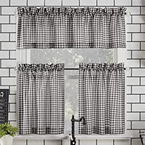 "No. 918 Parkham Farmhouse Plaid Semi-Sheer Rod Pocket Kitchen Curtain Valance and Tiers Set, 54"" x 36"" 3-Piece, Black/White"