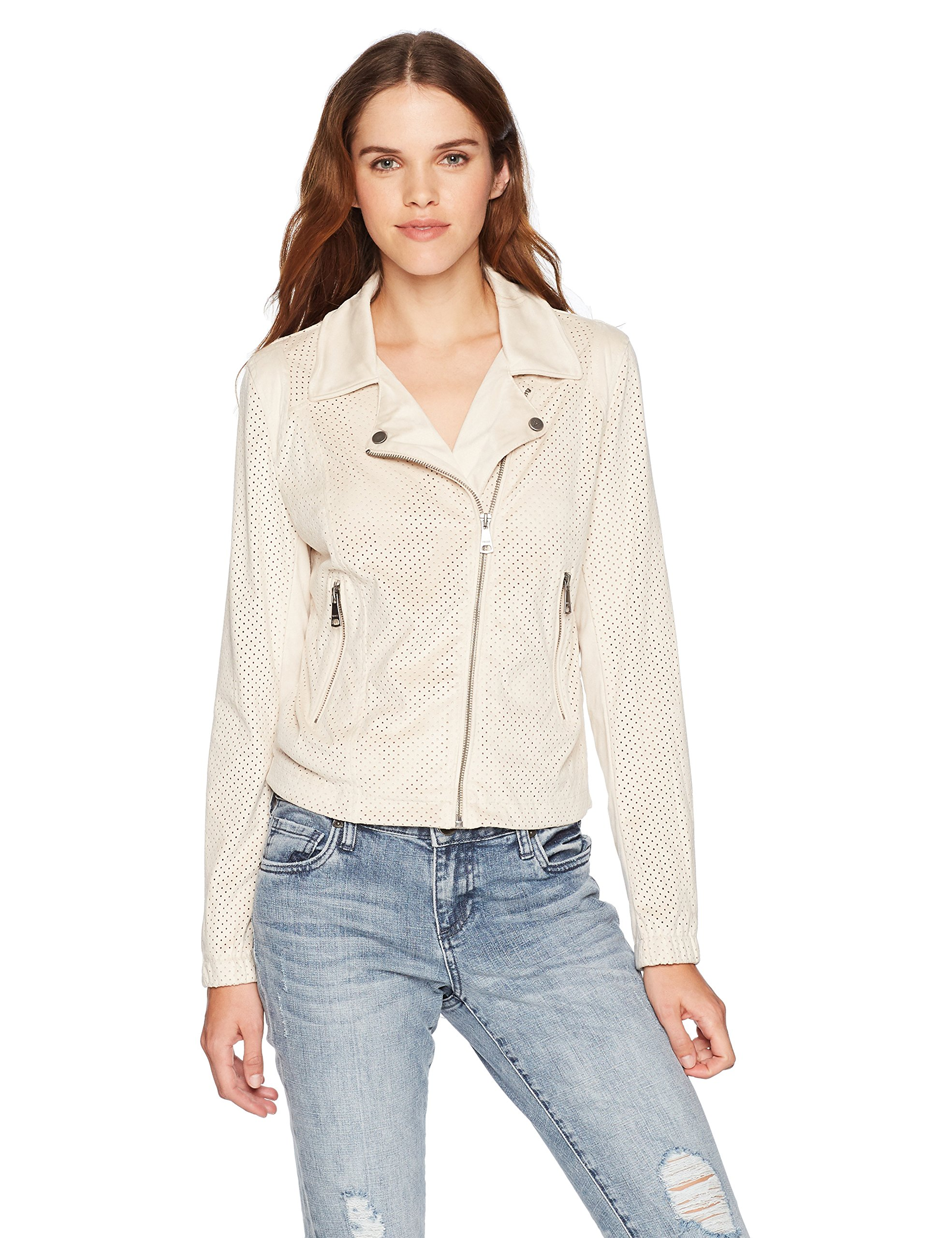 VIGOSS Women's Perforated Faux Suede Moto Jacket, Cloud, Medium