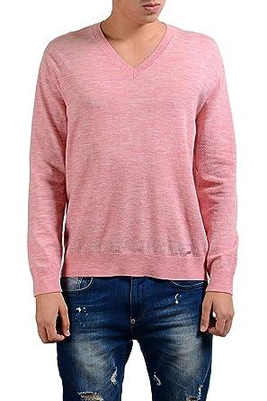 c65222f69 Amazon.com  Dsquared2 Men s Light Pink Wool V-Neck Sweater US M IT ...