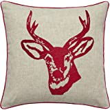 Catherine Lansfield Stags Head Cushion Cover Red