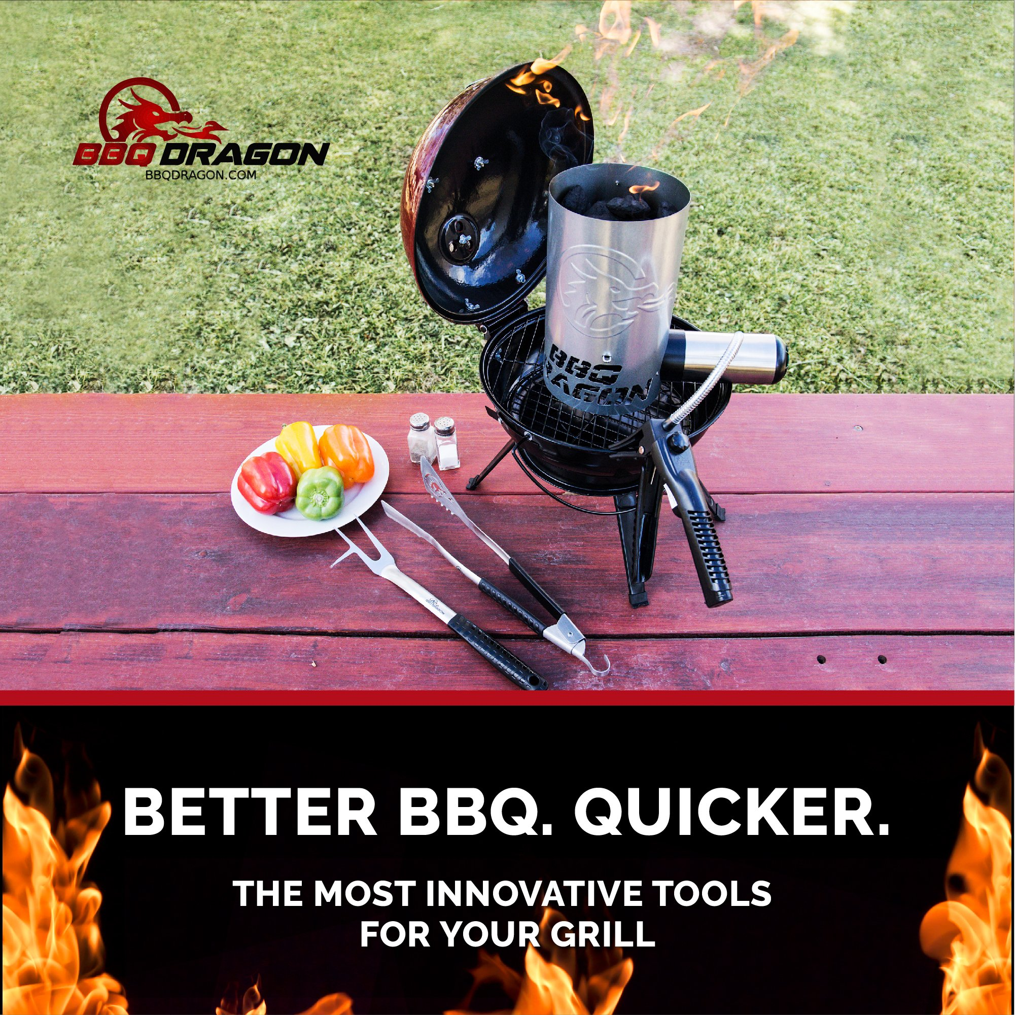 BBQ Dragon Chimney of Insanity Charcoal Starter - The Fastest and Easiest Charcoal Chimney Starter for BBQ Grills by BBQ Dragon