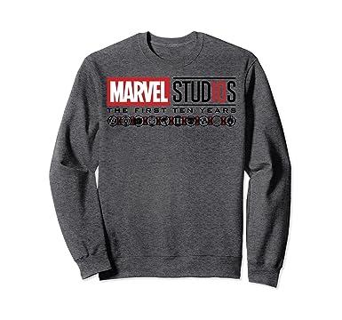 ecb741a0eba Unisex Marvel Studios First Ten Years Logo Icons Graphic Sweatshirt 2XL  Dark Heather