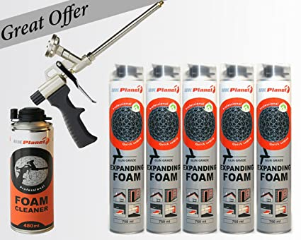 5 botes de 750 ml extensible + + pistola Poliuretano de espuma especial para limpiar 480