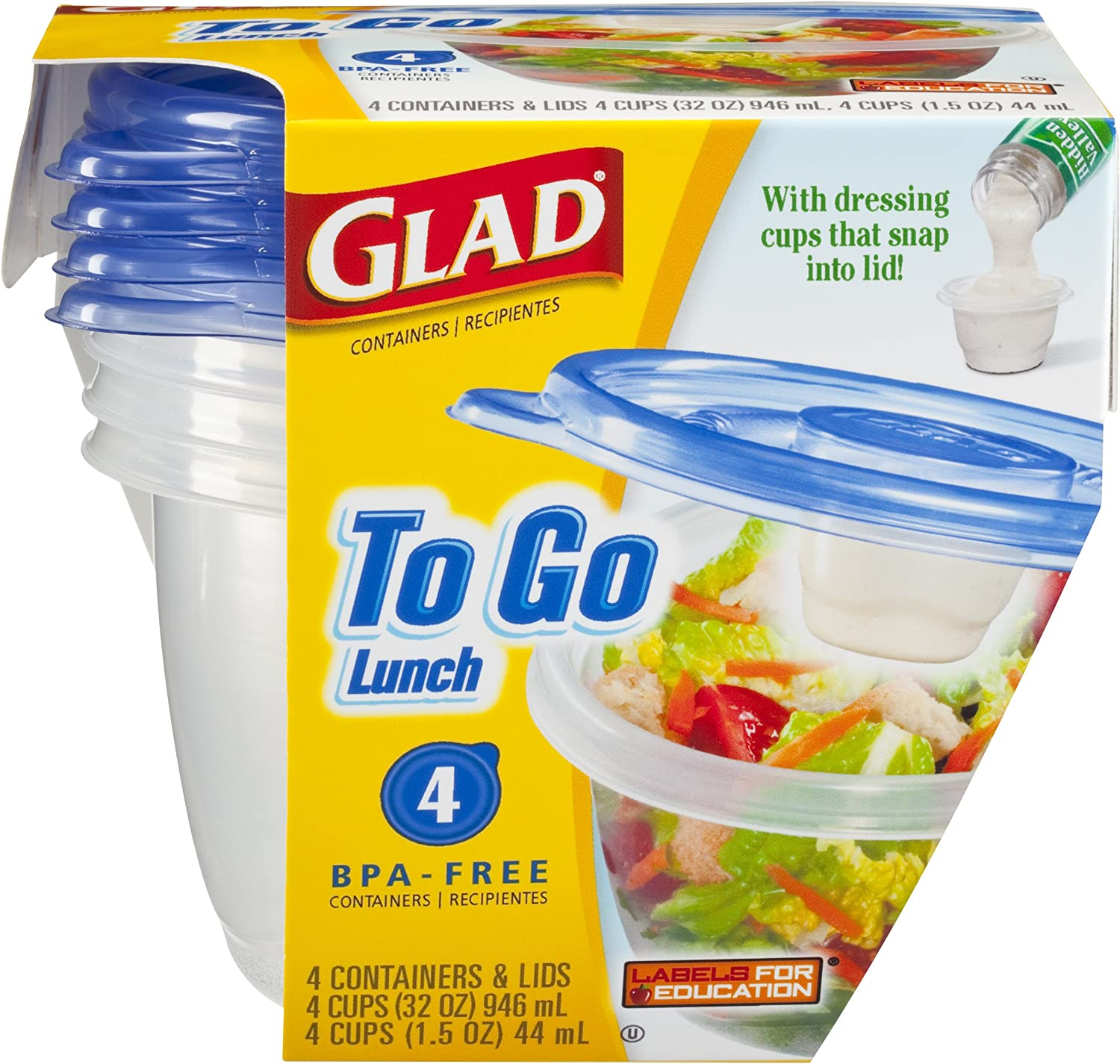 Glad To Go Container Lunch Size - With Dressing Cups That Snap Into Lid
