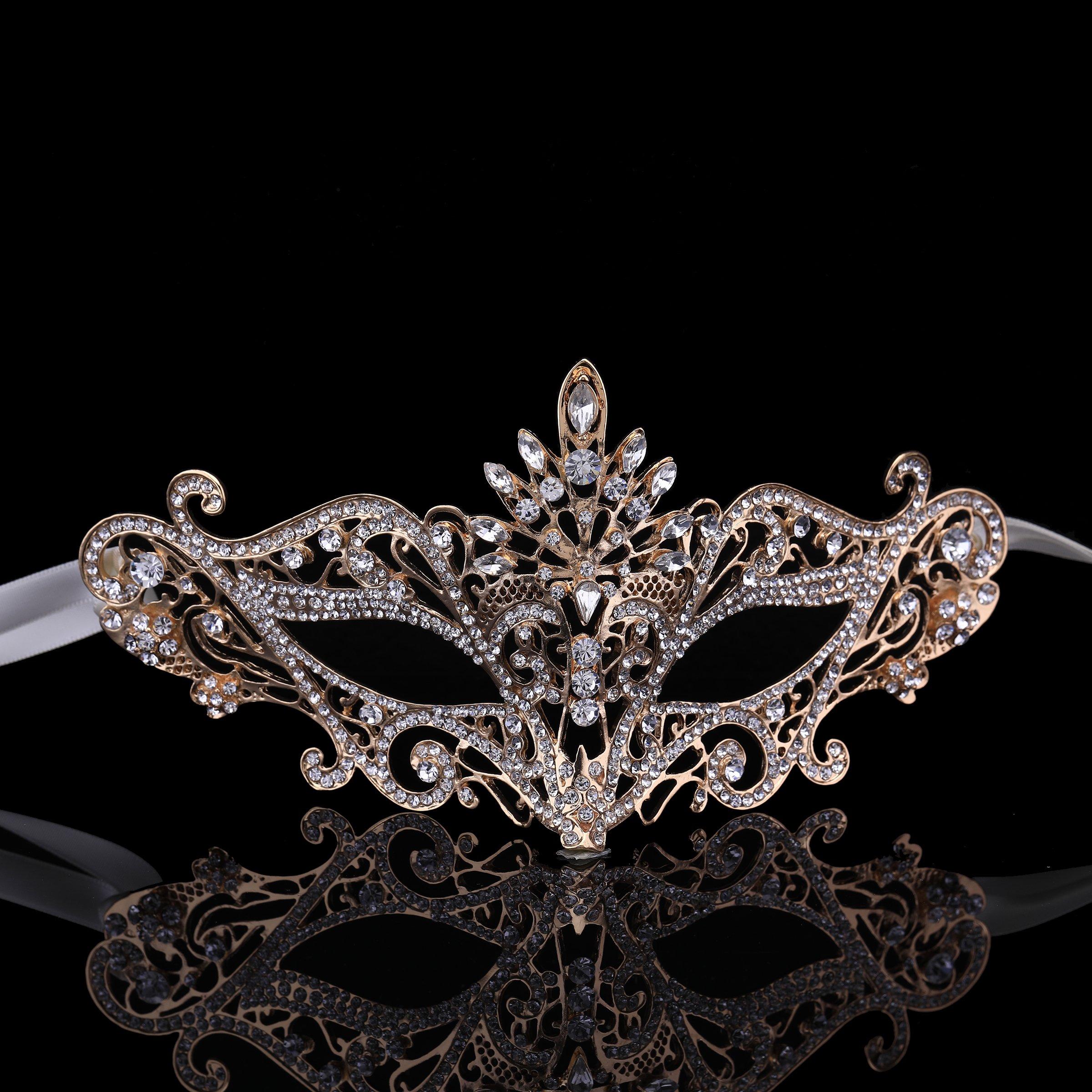 FUMUD Luxury Full Rhinestone Crystal Venetian Masquerade Ball Women Mask for Party Wedding Accessories (Gold)