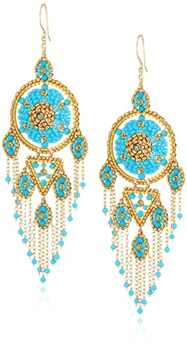 Miguel Ases Large Dreamcatcher Dangle Fringe Chain Chandelier Drop Earrings