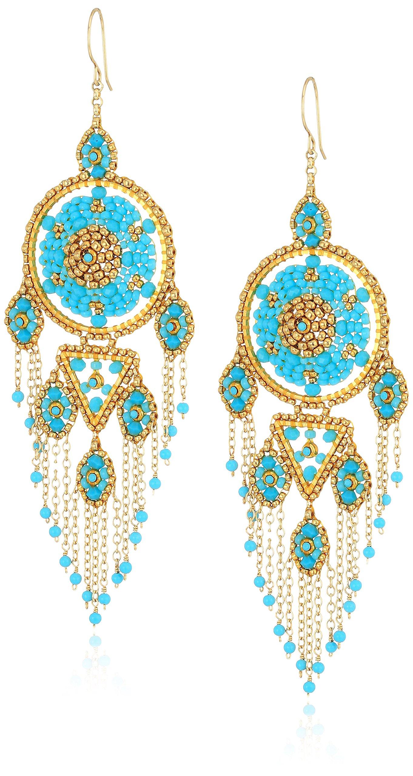 Miguel Ases Large Dreamcatcher Turquoise Multi-Dangle Fringe Chain Chandelier Drop Earrings