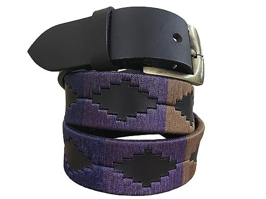 Carlos Diaz Cintur/ón de polo argentino de cuero Negro bordado para hombres y mujeres unisex