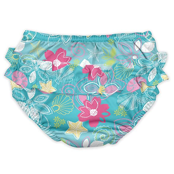 Amazon.com: i play. Baby Girls' Ruffle Snap Reusable Absorbent Swimsuit  Diaper: Clothing