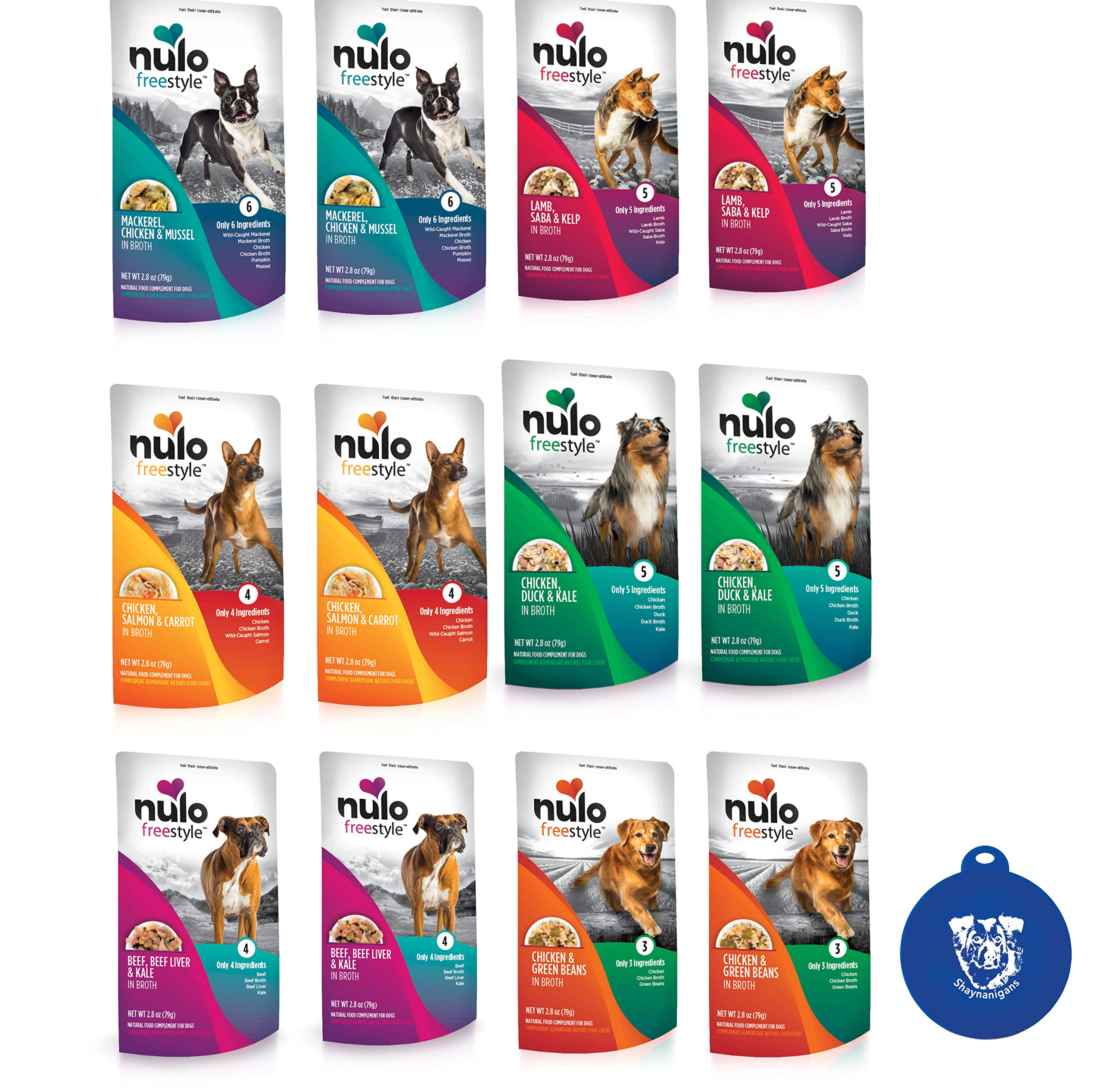 Nulo Freestyle Grain Free Shredded Minced Dog Food in Broth in 6 Flavors (12 Total Pouches, 2.8 Ounces Each) Plus Silicone Can Cover