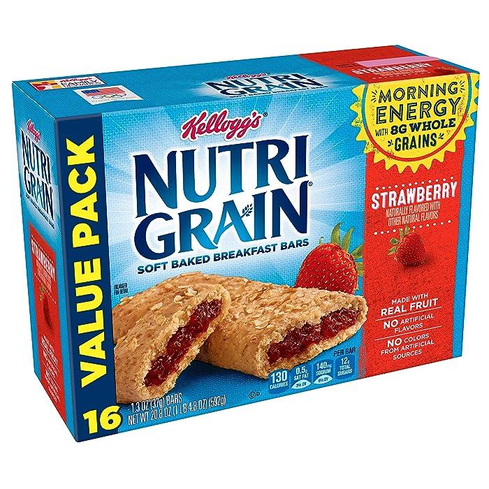 Kellogg's Nutri-Grain Soft Baked Strawberry Breakfast Bars - School Lunchbox Snacks, Individual Wrapped Bars (16 Count)
