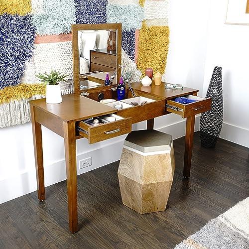 Alveare Home Aimee Vanity Desk Makeup Dressing Table, WALNUT