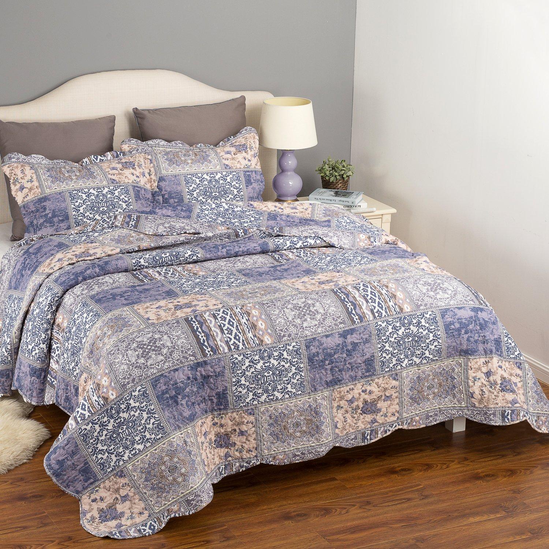 Bedding Quilt Set Luxury Bedroom Bedspread Blue Blending Patchwork