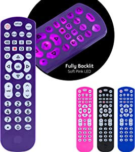 GE Universal Remote Control, Backlit, for Samsung, Vizio, Lg, Sony, Sharp, Roku, Apple TV, RCA, Panasonic, Smart TVs, Streaming Players, Blu-Ray, DVD, Simple Setup, 4-Device, Purple, 45765