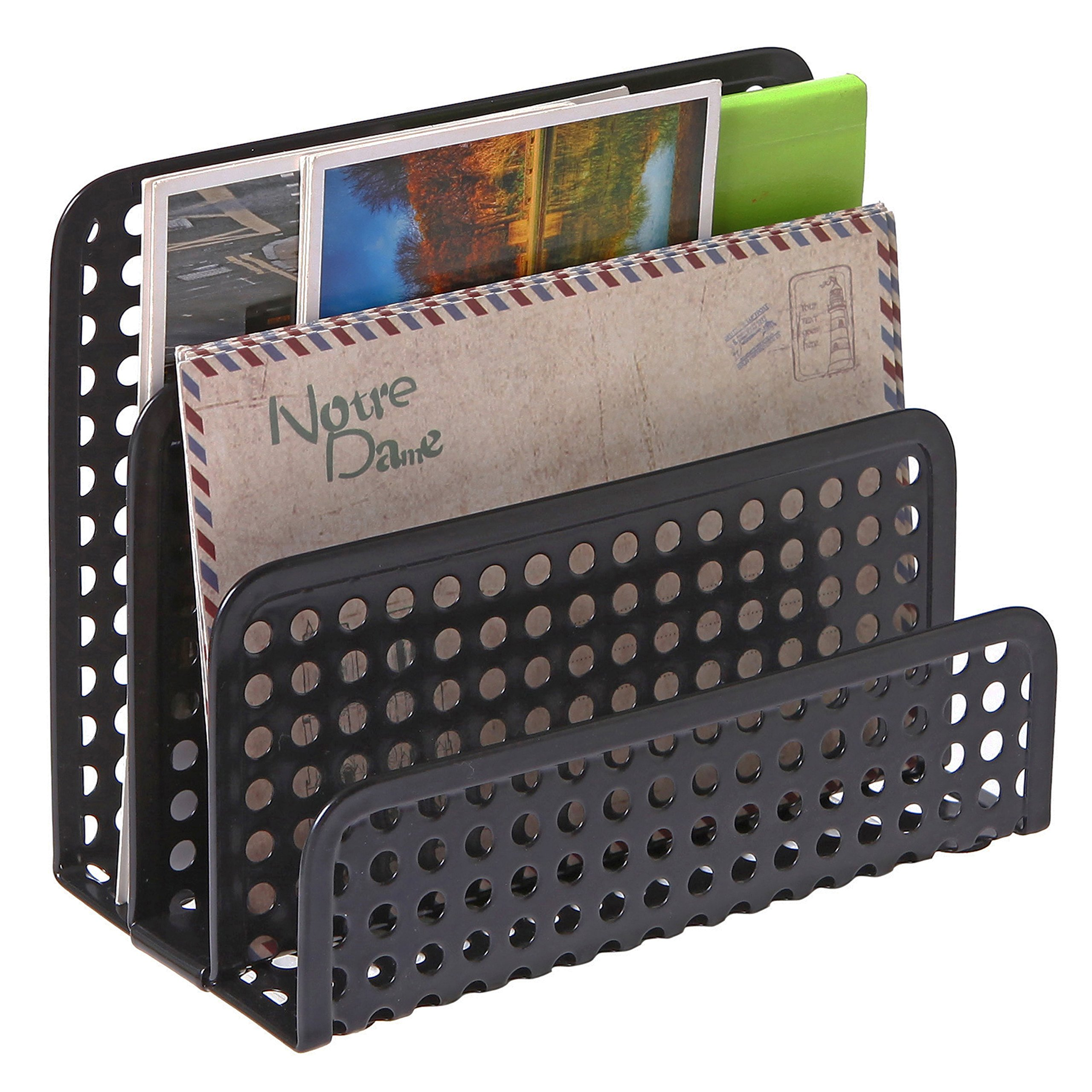 3 Slot Perforated Metal Mesh Mail Sorter Rack, Desktop Letter and Document Organizer, Black