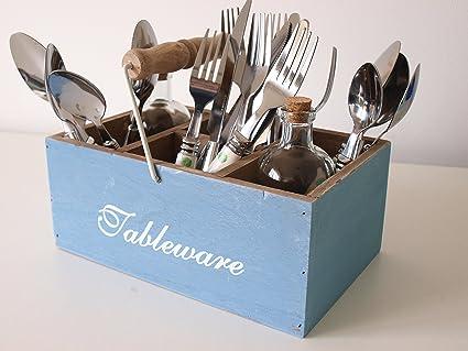 Soporte para cubiertos, estilo retro, de madera, para utensilios de cocina, cuchillos