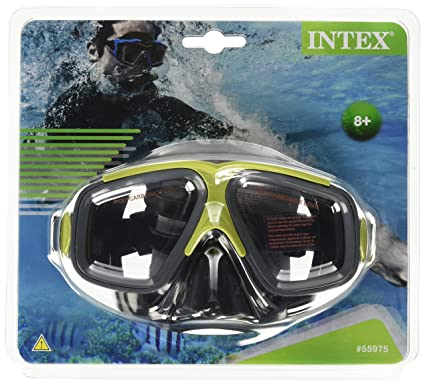 Intex Surf Rider Mask Reef Snorkel Swim Face Mask Goggle (Red)