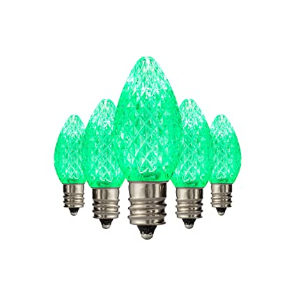 Amazon.com: LED C7 Green Replacement Christmas Light Bulbs ...