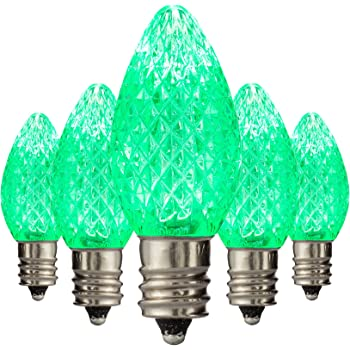 led c7 green replacement christmas light bulbs commercial grade holiday bulbs 3 diode