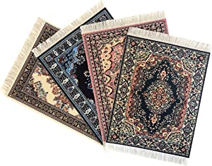 Inusitus Set of 4 Miniature Dollhouse Carpets - Dolls House Toy Rugs - 1/12 Scale Accessories