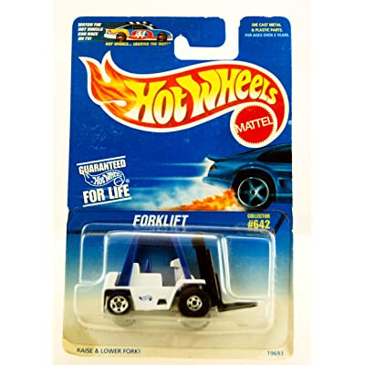 Hot Wheels - 1996 - Forklift - White & Blue - Collector #642 - Forks Moves - Limited Edition - Collectible: Toys & Games