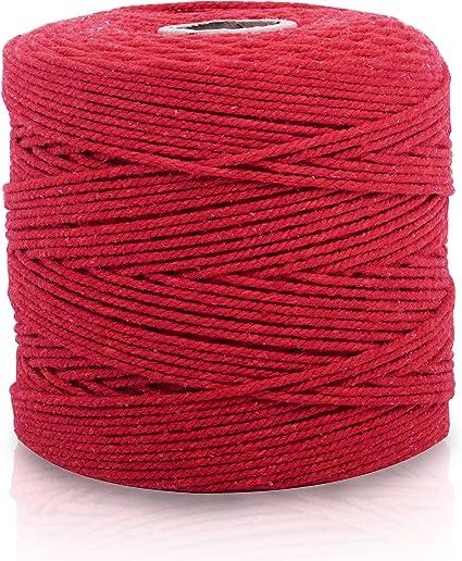 Cuerda Macrame Roja - Cuerda Algodon 240 Metros de Largo 2 a 2,5mm ...