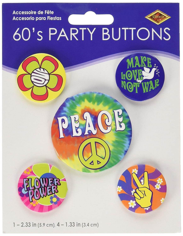 60s Party Buttons 5//Pkg asstd designs