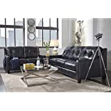 O'Kean Contemporary Navy Color leather Sofa And Loveseat