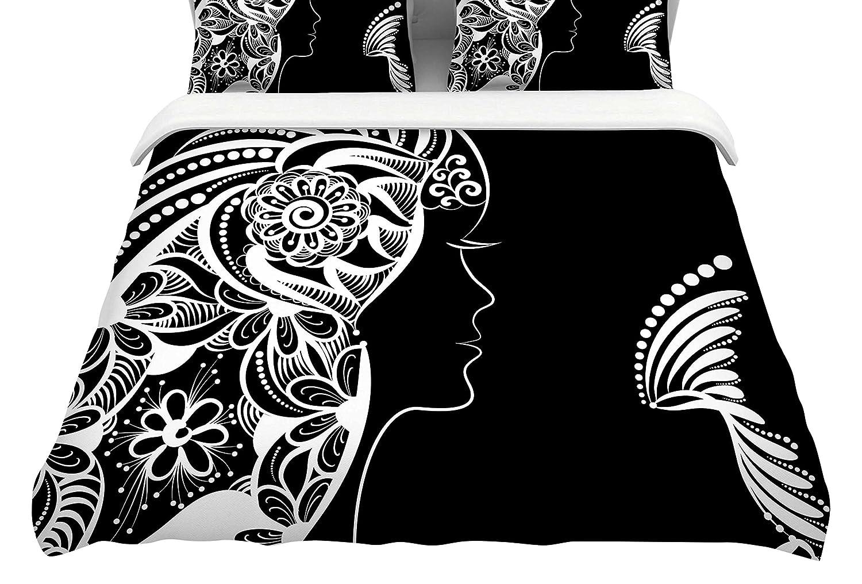 Kess InHouse Maria Bazarova Horoscope Virgin Featherweight Queen Duvet Cover, 88 x 88,