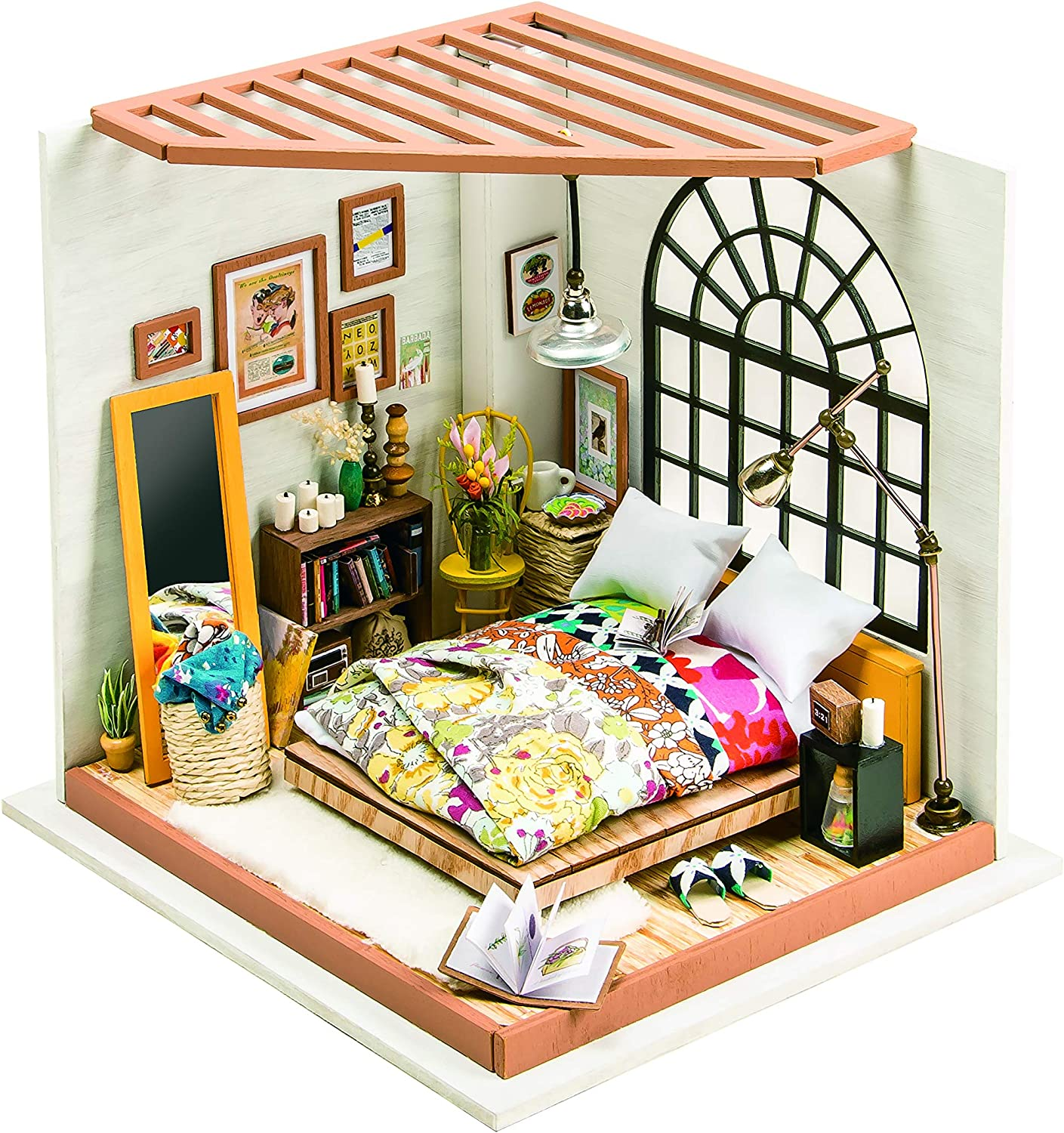 DIY M038 'Give You Happiness' Wooden Miniature Dollhouse w// LEDs Dust Proof Cov