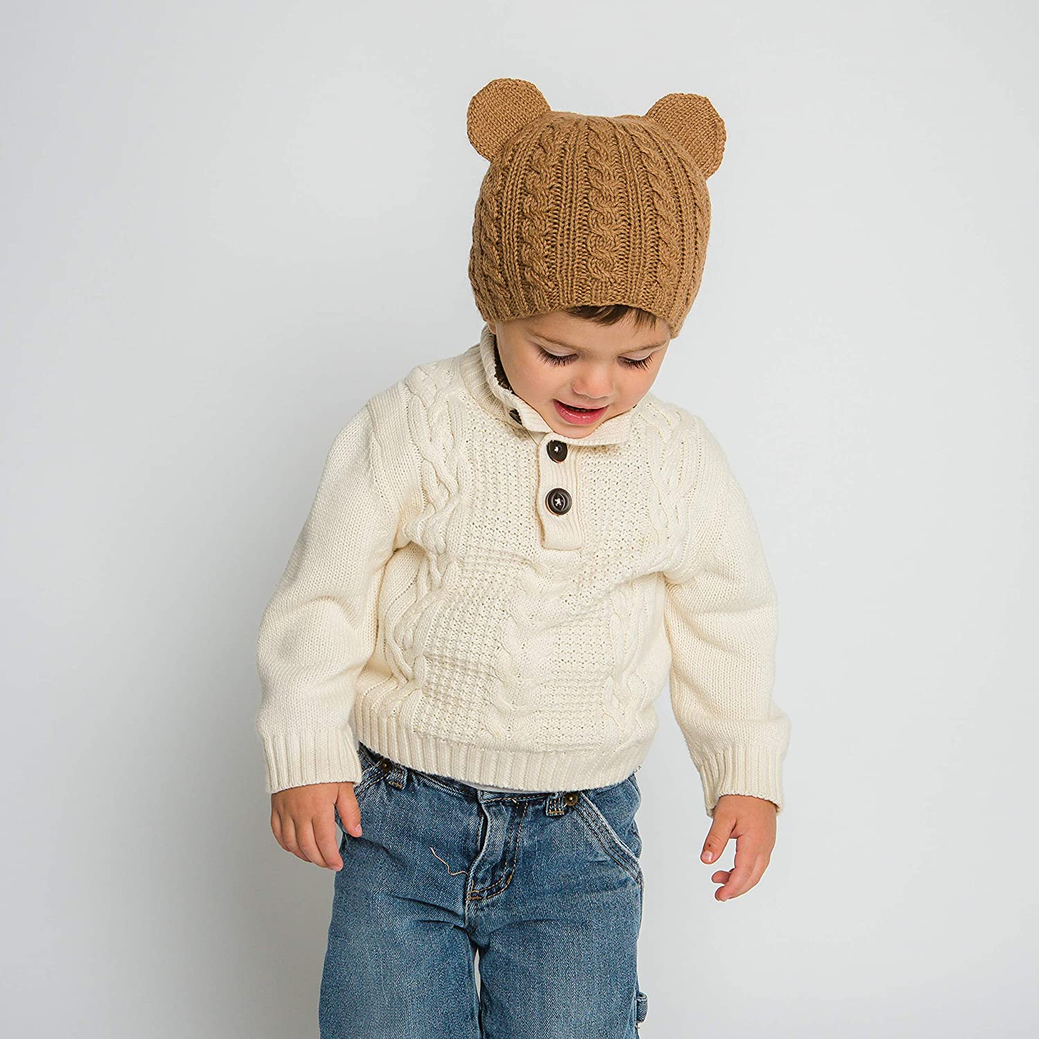 Hand-Knit 100% Organic Alpaca Wool | Pasco Bear Beanie Hat (Brown) by Surhilo | Soft, Quality, Hypoallergenic | The Perfect and Eco-Friendly Way to Keep Your Baby and Toddler Cozy and Comfortable
