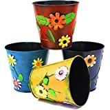 4 x Metal Painted Flower Garden Patio Planter Pots