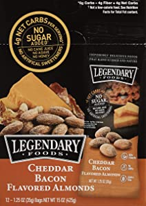 Legendary Foods Cheddar Bacon Flavored Almonds | Keto Friendly Low-Carb Snacks | High Protein, Fat, Potassium & More | (1.25oz, Pack of 12)