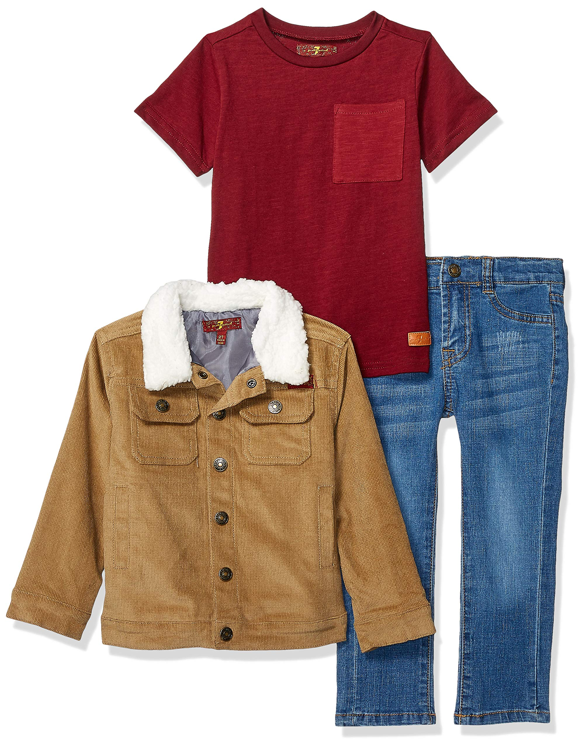 7 For All Mankind Kids Boys' Toddler Jacket, Short Sleeve Tee and Jean Set, Khaki 2T