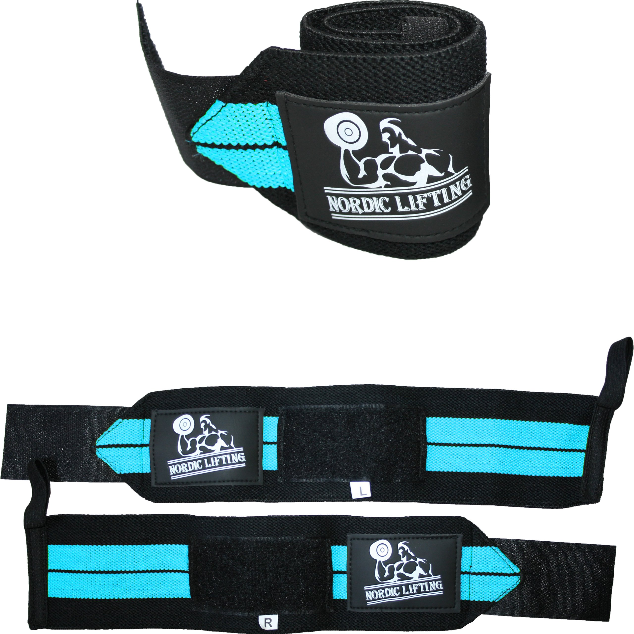 Wrist Wraps (1 Pair/2 Wraps) for Weightlifting/Cross Training/Powerlifting/Bodybuilding-Women & Men-Premium Quality Equipment & Accessories Avoid Injury in Weight Lifting-(Aqua Blue)-1 Year Warranty