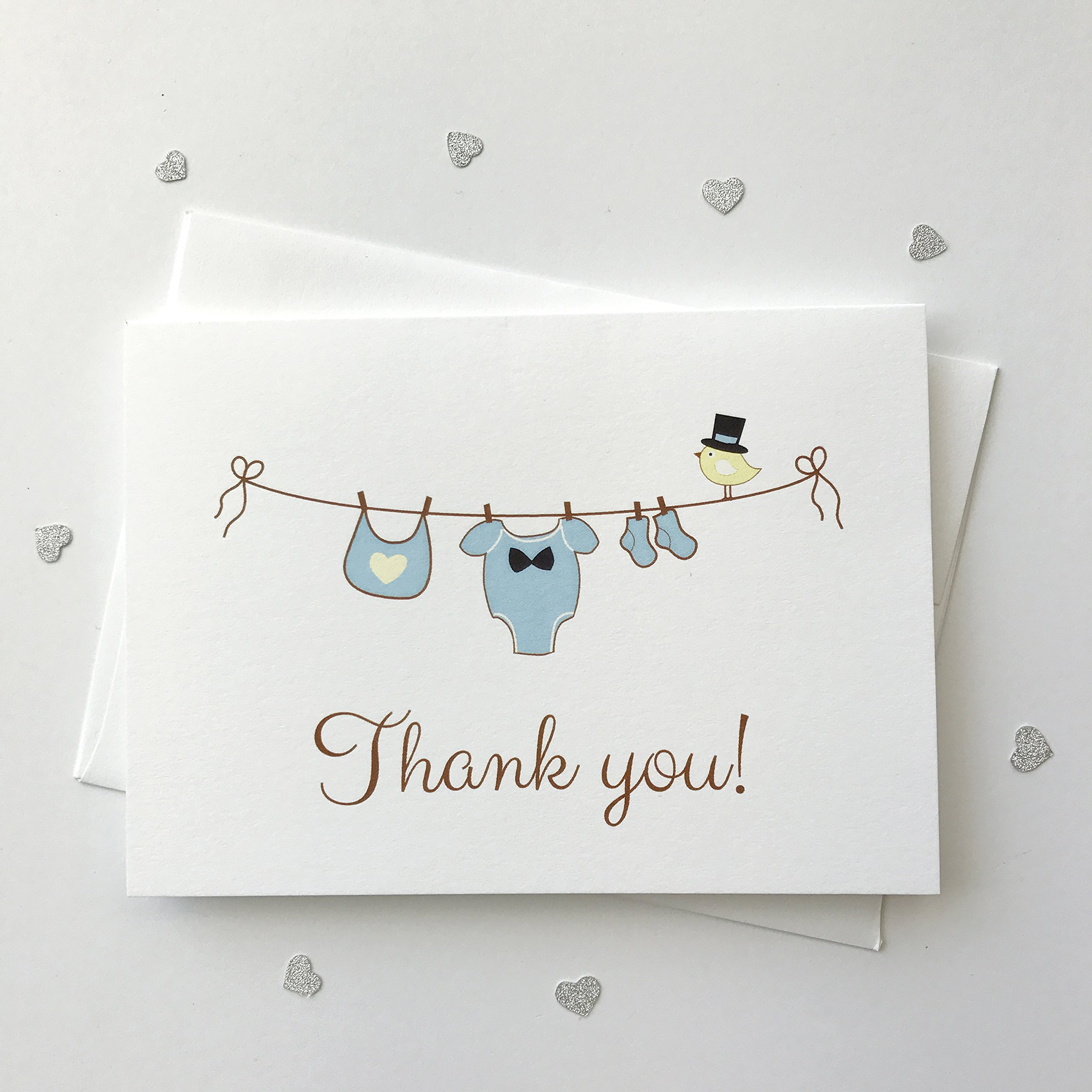 12 ct Baby Boy Shower Thank You Cards, Bay Shower Thank You Cards, Clothesline Boys (Baby4)