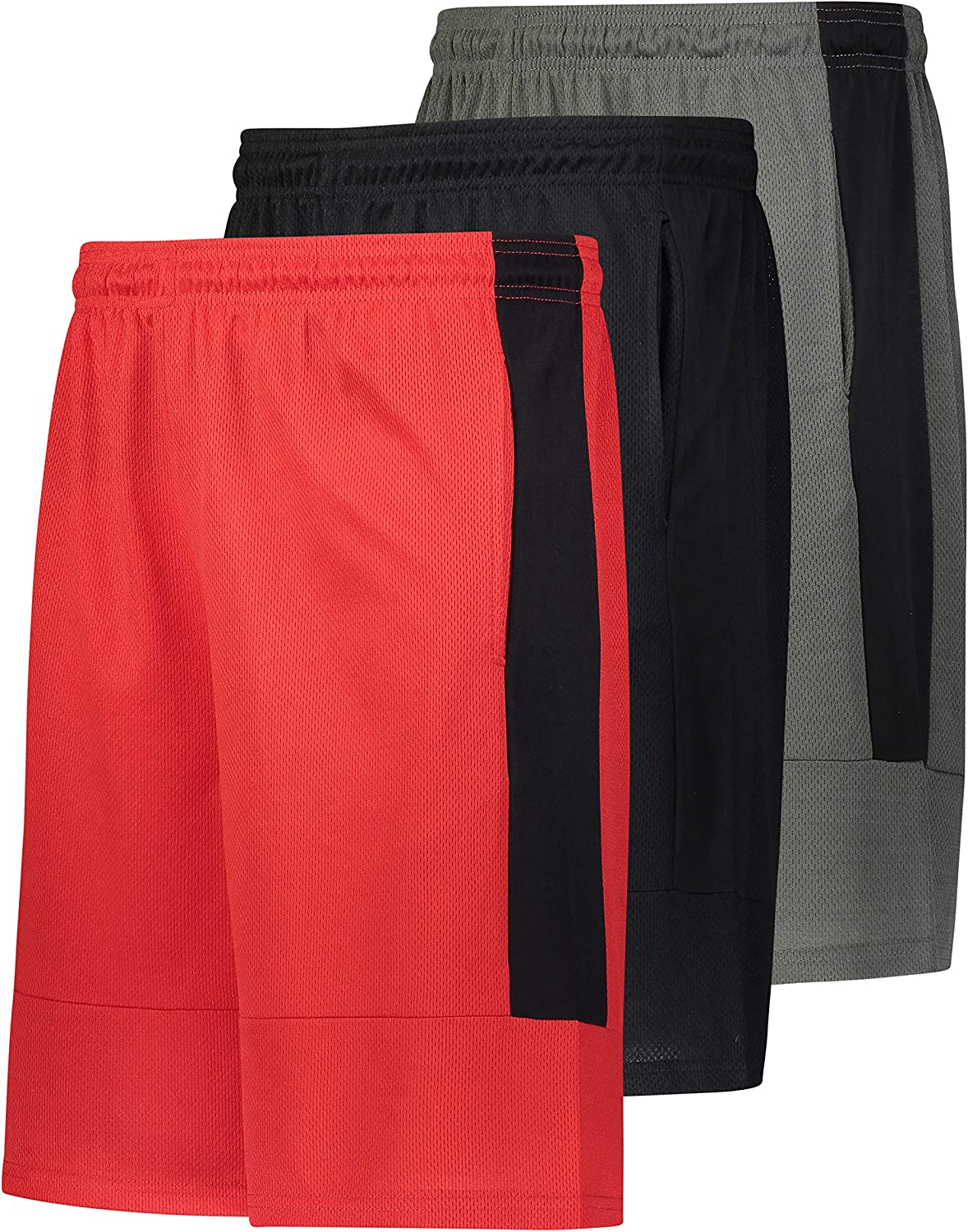 3 Pack X-PRO Mens Athletic Shorts Active Performance Workout Gym Shorts with Pockets
