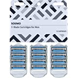 Amazon Brand - Solimo 3-Blade Razor Refills for Men with Dual Lubrication, 12 Cartridges (Fits Solimo Razor Handles only)