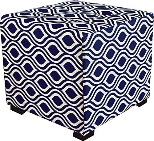 MJL Furniture Designs Upholstered Cubed Square Nicole Series Ottoman, 17 x 19 x 19 , Indigo