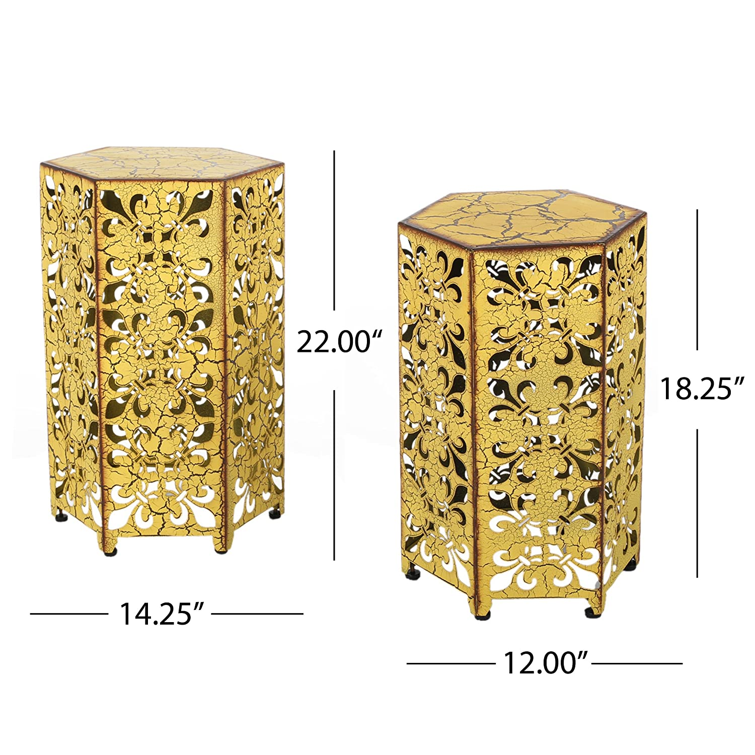 Great Deal Furniture Set of 2 Utica Antique Style Yellow Accent Table